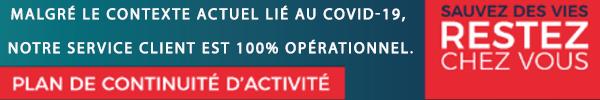 Malgré le contexte actuel lié au COVID-19, notre service client est 100% opérationnel.